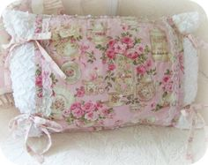 shabby pink pillows, rose pillow, shabby chic pillows     www.RomancingTheRoseStudio.com ©Website Design by: OneSpringStreet.NET 2011
