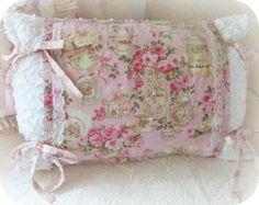 shabby pink pillows, rose pillow, shabby chic pillows     www.RomancingTheRoseStudio.com ©Website Design by: OneSpringStreet.NET 2011