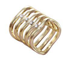 OKAJEWELRY Wavy Rhinestone Scarf Ring Slide Tube Gold Tone