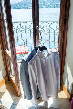 Lake Como Italy Villa Balbiano Balcony Suit Shirt