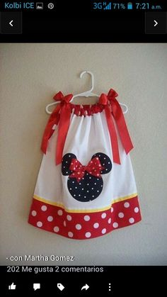 pillowcase dress for Minnie/Mickey themed bday party-Miss Laila loves Minnie Mouse! May have to sew up a couple for my Granddaughters Sewing For Kids, Baby Sewing, Toddler Dress, Baby Dress, Little Girl Dresses, Little Girls, Mono Mini, Dress Patterns, Sewing Patterns