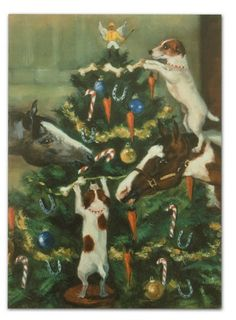 """Tis the Season"", Christmas card.  Whimsical and charming image of Jack Russell Terriers and horses decorating the Christmas tree. Art by Celeste Susany."