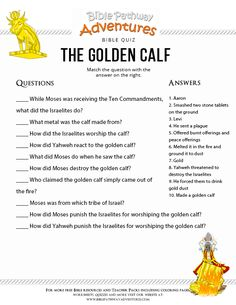 Enjoy our free Bible Quiz: The Golden Calf. Fun for kids to print and test their knowledge. Learn more about the Torah. Feel free to share with others, too! Sunday School Activities, Bible Activities, Sunday School Lessons, Bible Games, Sabbath Activities, Bible Study For Kids, Bible Lessons For Kids, Kids Bible, Bible Quiz