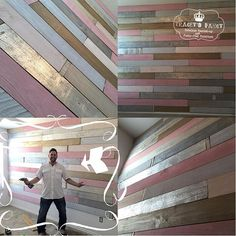 No Silver. Just Pink, Cream & Gold  PINK~CREAM~SILVER~GOLD!!! Our metallic wood plank wall has gone girlie!. We are anxiously waiting for the finishing touches to the room....glitter monograms, glass chandelier, pretty mirrors! Final pics in late September. And yes....our installer is cuter than your installer (aka my son-in-law) @trevorunderwood #pureglitterandglam #heirloomtraditionspaint #sanantonio #traceysfancy #NurseryCouture #custompainting