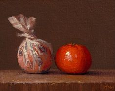 "Daily Paintworks - ""Wrapped Tangerine and Tangerine (Yin & Yang) - 24-hour auction"" - Original Fine Art for Sale - © Abbey Ryan"
