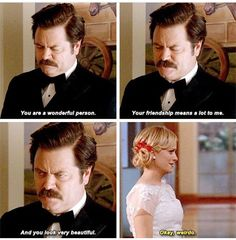 Ron and Leslie -- Parks and Recreation. Best Tv Shows, Best Shows Ever, Movies And Tv Shows, Favorite Tv Shows, Parks And Rec Memes, Parks And Recreation, Parcs And Rec, Ben Wyatt, Fandoms