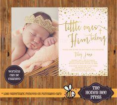 Girl Baptism Photo invitation - Blush and Gold baptism invitation - Gold bubbles - Little Ones to Him Belong - Printable invitation - Baptism ideas by The Honey Bee Press