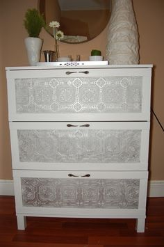 Ikea Dresser Hack, for brimnes dresser (paintable wallpaper - i'll print my own/download from net - in clear drawer, change handles)