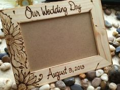 Our Wedding Day Personalized Wood Frame - perfect bridal Shower Gift - with Wedding Date and Sunflowers