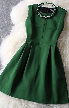 Fresh Green With Beading Party Dress