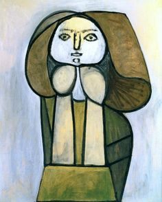 Pablo Picasso, 1946 Femme à la robe verte on ArtStack #pablo-picasso #museumweek