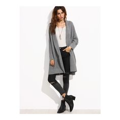 SheIn(sheinside) Grey Shawl Collar Pocket Front Dolman Sleeve Cardigan ($30) ❤ liked on Polyvore featuring tops, cardigans, grey, oversized grey cardigan, embellished cardigan, oversized tops, pocket cardigan and gray cardigan
