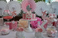 Little Big Company | The Blog: Pink and White Themed Christening with Fans and Lace by Sugar Coated Candy & Dessert Buffets