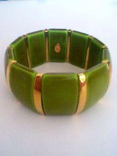 Joan Rivers Vintage Green Cuff Bracelet with Gold by PlaidPanache, $25.00 www.etsy.com/shop/plaidpanache