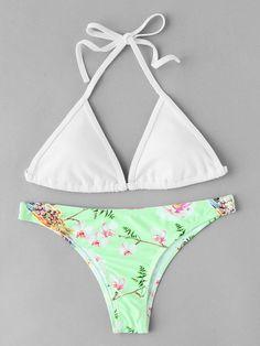 #AdoreWe #SheIn SheIn Flower Print High Leg Self Tie Bikini Set - AdoreWe.com