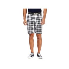 Men's Haggar® Cool 18® Flat-Front Plaid Shorts, Size: 36, White