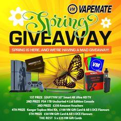 For our 2016 Spring Giveaway we have 10 prizes worth almost £2000 to be won and more than 20 ways to enter!    #vape #vaping #vapemail #vapers #vapechat #vapelife #vape4life #vapour #ecigs #eliquid #vapecommunity #vapeuk #ejuice #vapeporn #vapegiveaway #vapestagram #vapeon #vapenation #vapes #instavape #vapefriends #vaper #vapelove #vapefamily #ukeliquid #eliquid #competition #win #giveaway #prizes