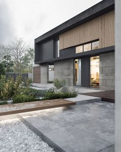 The house for a young family is located in near Moscow and from point of view of density of building and a context of the district, is in hostile environment therefore creation of visual barriers on the one hand and visual corridors with another was one o…