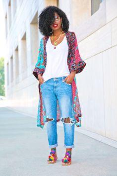 Style Pantry | Printed Kimono + Tank + Distressed Boyfriend Jeans
