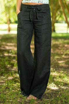 Button Linen Pants, Black