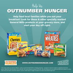 #wheaties #cheerios @Betty Crocker #naturevalley #pillsbury http://outnumberhunger.com/