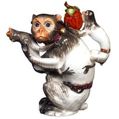 Meissen Mother Monkey Teapot with Two Babies | From a unique collection of antique and modern figurines at http://www.1stdibs.com/furniture/dining-entertaining/figurines/