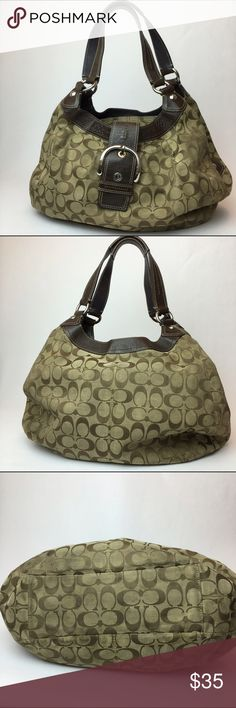 Coach F15083 brown jacquard purse Overall good condition but does have signs of wear. Lots of extra storage, 3 compartments, center zippers close. Bottom has some spots. Some tiny tears on the side Coach Bags Hobos