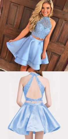 Blue Two Piece A Line Halter Keyhole Back Appliques Short Homecoming Dress, Shop plus-sized prom dresses for curvy figures and plus-size party dresses. Ball gowns for prom in plus sizes and short plus-sized prom dresses for Two Piece Homecoming Dress, Blue Homecoming Dresses, Hoco Dresses, Dresses For Teens, Blue Dresses, Dress Prom, Halter Dress Short, Semi Dresses, Dresses Elegant