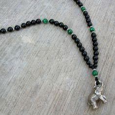 Genuine onyx and malachite gemstone necklace with elephant pendant