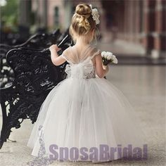 Lovely Cute Lace Pretty Soft Newest Flower Girl Dresses with bow , Fashion Little Girl Dresses, FG104