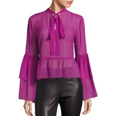 Saks Fifth Avenue Collection Silk Bell Sleeve Leopard-Print Blouse ($235) ❤ liked on Polyvore featuring tops, blouses, apparel & accessories, silk blouses, sweater pullover, purple blouse, silk tie blouse and purple top