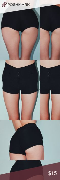 Black button up shorts Black 3 button shorts Forever 21 Shorts