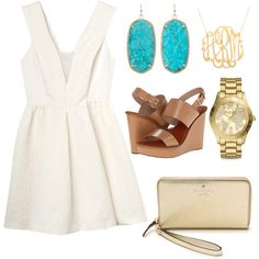 simple, clean but classic by preppysoutherngirl-hcc on Polyvore featuring Rebecca Taylor, Tory Burch, Kate Spade, Kendra Scott, Michael Kors and Moon and Lola