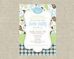 Mod Baby Boy Shower  Invitation Paisley Brown Blue Green Dots Digital Printable by girlsatplay girls at play