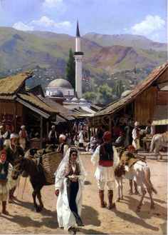 View of Bascarsija, Sarajevo by Franz Leo Ruben - Hand Painted Oil Painting Rubens Paintings, Albanian Culture, Countries Europe, Sarajevo Bosnia, Easy Jet, Aesthetic Images, Serbian, Bosnia And Herzegovina, Solo Travel