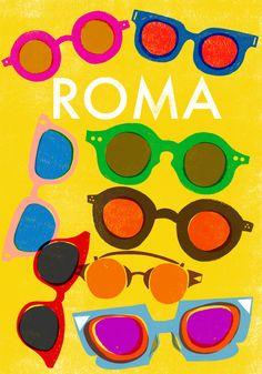 x Roma Travel Poster - Sarah Tanat-Jones Poster Prints, Art Prints, Vintage Travel Posters, Pattern Wallpaper, Paper Design, Vintage Advertisements, Letterpress, Illustrations Posters, Illustrators