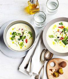 spiced chickpea kofta with yoghurt & pearl barley soup | Gourmet Traveller