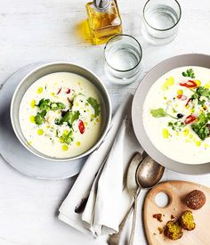 spiced chickpea kofta with yoghurt & pearl barley soup | Gourmet Traveller