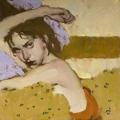 "Milt Kobayashi, ""Nestled"", 10 x 10, Oil | Eisenhauer Gallery of Edgartown, MA #portraits"