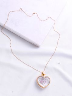 Flower Heart Pendant Chain Necklace