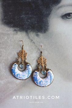 Portugal  Antique Azulejo Tile Replica Chandelier Earrings from Aveiro,  Palacete do Visconde da Granja Art Nouveau Neoclassic Romantic