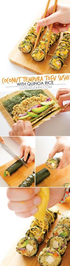 This Coconut Tempura Tofu Sushi with Quinoa Rice recipe is a healthy, vegetarian sushi that fish-lovers and vegetarians will both love! Packed with panko-coated tofu, avocado, red cabbage, and quinoa rice, this is an ultra light and refreshing sushi roll. Top it with a curry mayonnaise and you're in for a flavor-packed treat! // Live Eat Learn