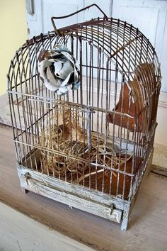 Distressed rusty birdcage wire wood French by AnitaSperoDesign, $120.00