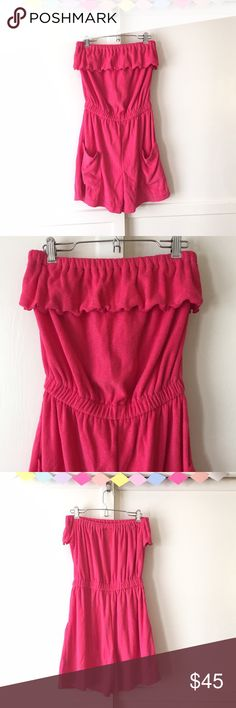 Vintage Hot Pink Terrycloth Romper with Pockets! My mom used to rock one of these around the house. Love the color & pretty ruffled on this retro romper! Made in USA! Vintage Pants Jumpsuits & Rompers