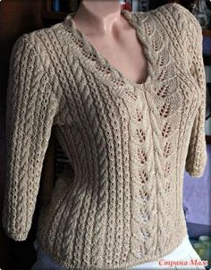 Lace and cables pullover Knit Cardigan Pattern, Sweater Knitting Patterns, Lace Knitting, Knitting Designs, Knit Patterns, Knit Crochet, Summer Knitting, Hand Knitted Sweaters, Knit Fashion