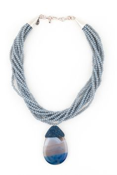 Alexander Blue Agat and Crystal Cocktail Necklace from Nala Atelier