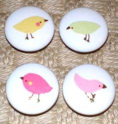 KNOBS made w Pottery Barn Kids Penelope Pink Green Yellow Birds. $2.85, via Etsy.