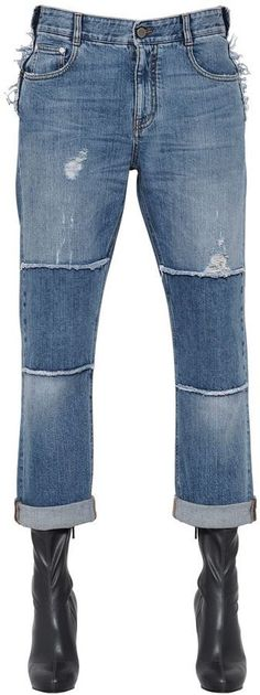 STELLA MCCARTNEY, Distressed patchwork organic denim jeans, Blue, Luisaviaroma - Button and concealed zip closure . Intentionally distressed and patched areas may vary . Ripped Boyfriend Jeans, Torn Jeans, Patched Jeans, Denim Jeans, Blue Jeans, Patchwork Jeans, Stella Mccartney Jeans, Denim Trends, Button Fly Jeans