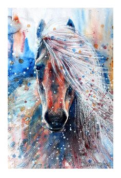 13 by ElenaShved on DeviantArt Watercolor Horse, Watercolor Animals, Watercolor Paintings, Watercolors, Horse Artwork, Painted Pony, Horse Drawings, Equine Art, Pretty Horses