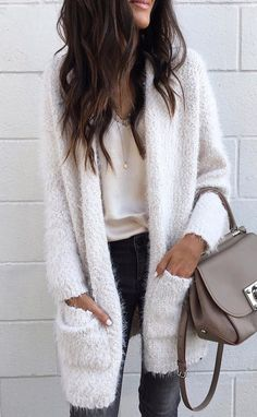 #fall #outfits women's white fur coat. Click To Shop This Look.